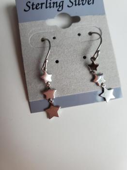 3 Star Sterling Silver Drop Earring