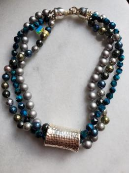 Simon Sebbag Multi Strand Teal & Mettalic Necklace
