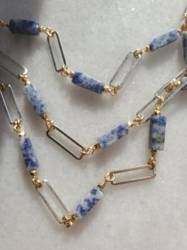 Multi Strand Sodalite Paperclip Necklace