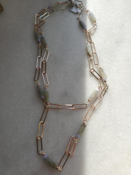 Labradorite & Agate Paperclip Chain Necklace