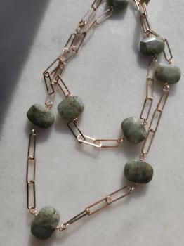Labradorite Paperclip Chain Necklace