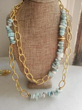 Larimar & Gold Chain Necklace