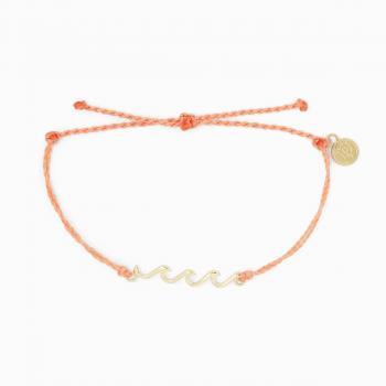 Pura Vida Gold Delicate Wave Bracelet in Salmon