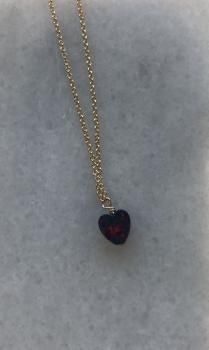 Heart Opal Charm Necklace