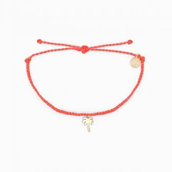 Pura Vida Palm Tree Charm Bracelet in Strawberry