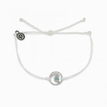 Pura Vida Shimmering Wave Charm White Bracelet