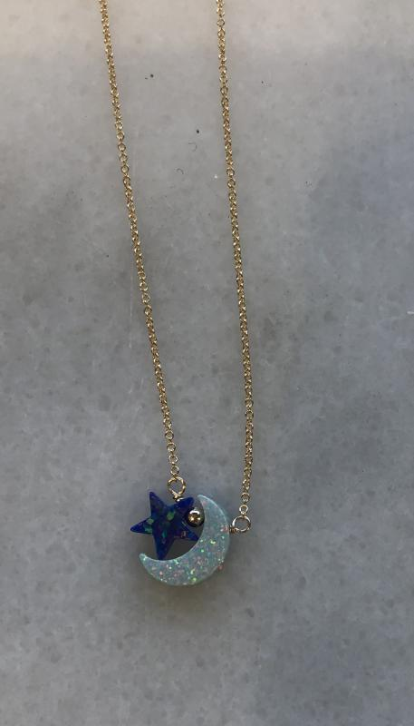 Moon and Star Opal Charm Necklace