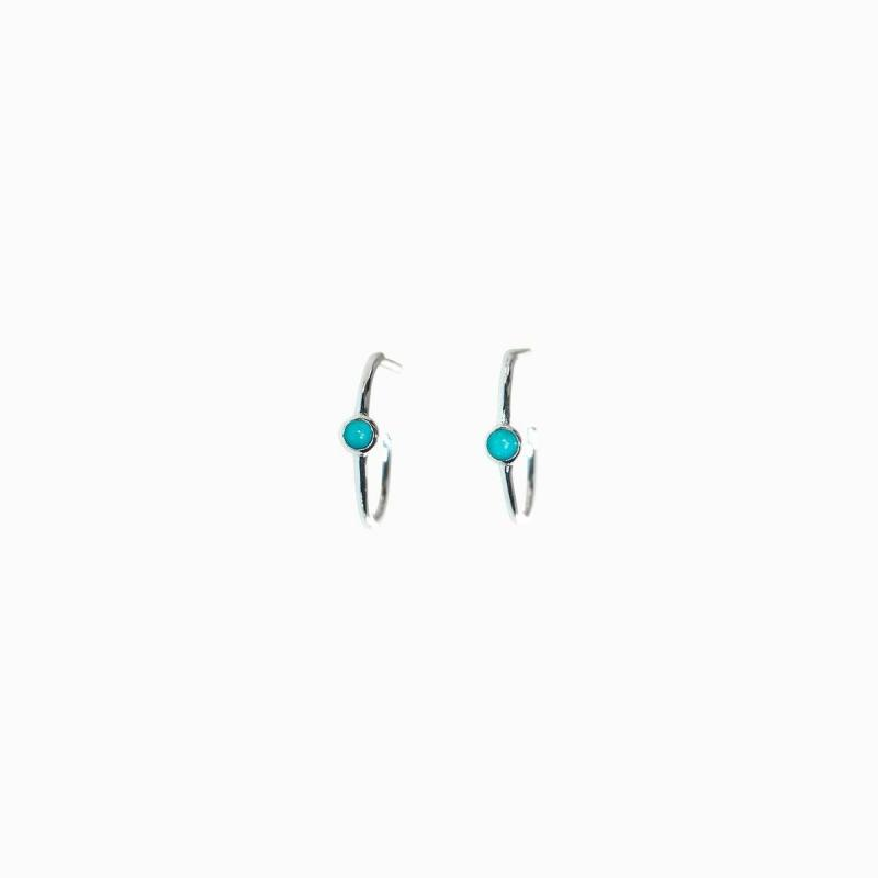 Pura Vida Stone Hoop Stud Earrings