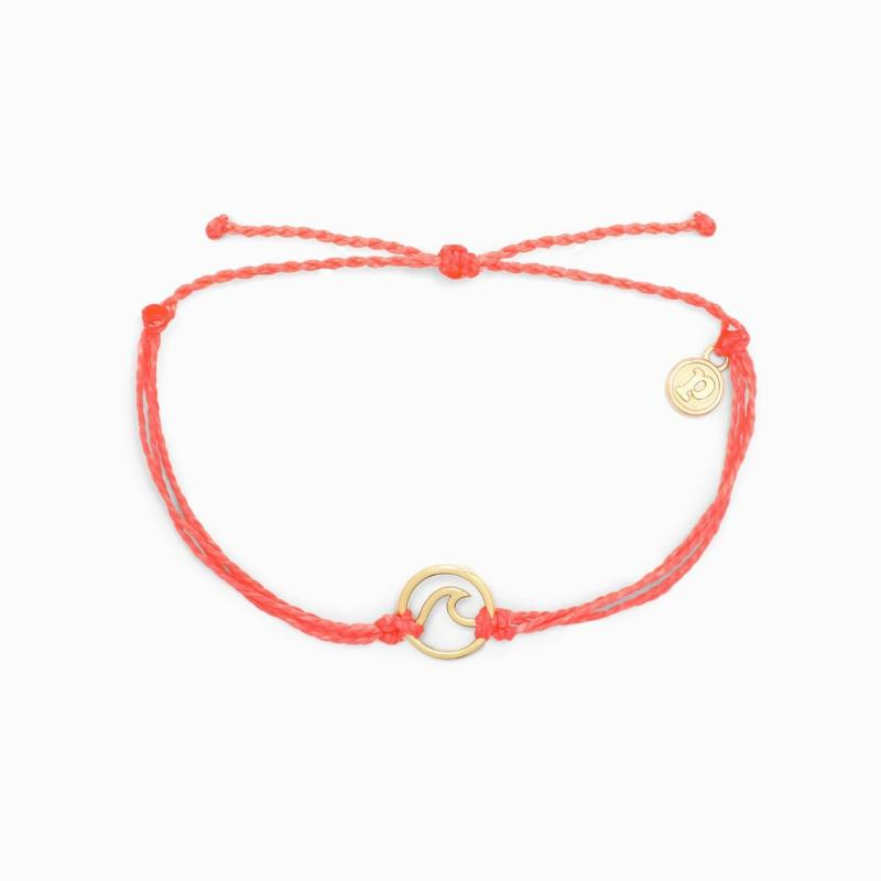 Pura Vida Gold Wave Charm in Strawberry