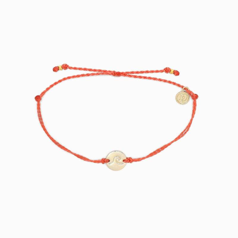 Pura Vida Wave Coin Charm in Coral