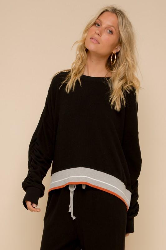 Stripe Elastic Pullover