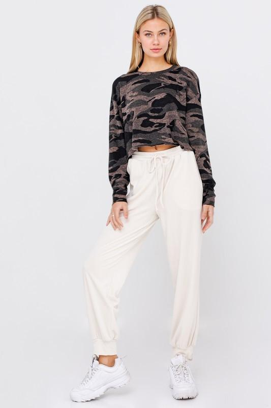 Long Sleeve Cropped Camo Top