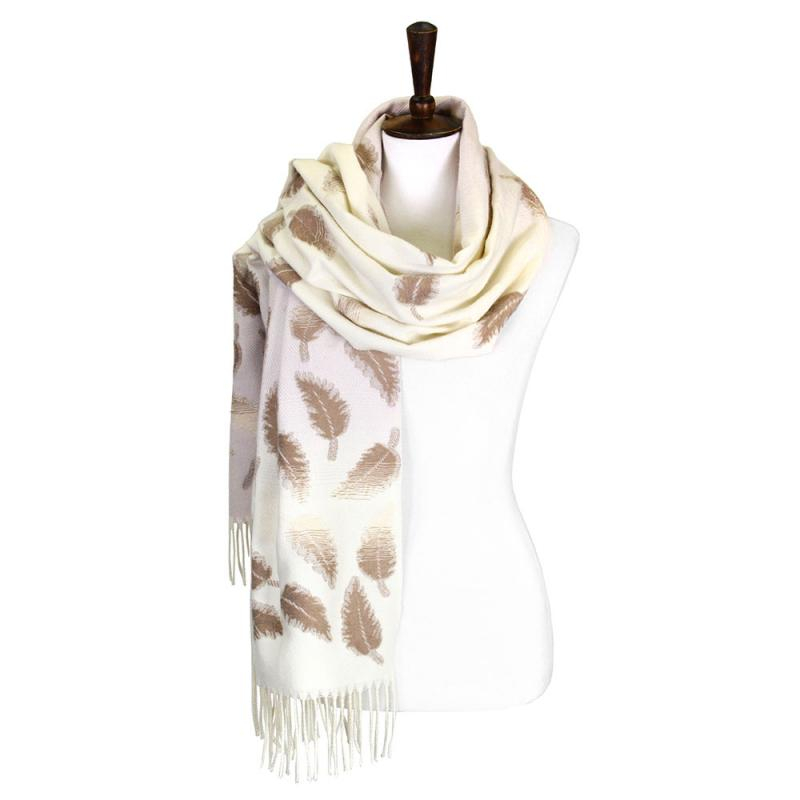 oblong cream scarf with taupe leaf detail
