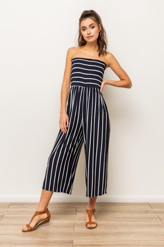 Smocking Stripe Jumpsuit