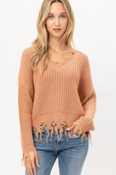 Unfinished Hem Sweater