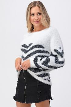 Fussy Zebra Open Back Sweater