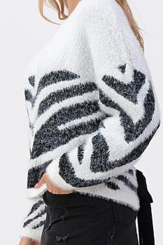 Fuzzy Zebra Open Back Sweater