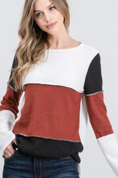 Color Block Waffle Knit Top