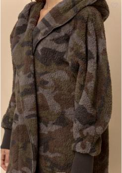 camo fuzzy open jacket