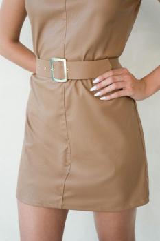 Leather Pad Dress with Strap
