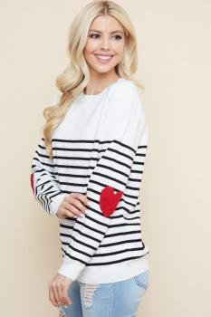 Striped Heart Elbow Sweater