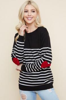 Striped Heart Elbow Sweater