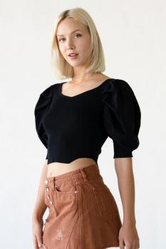 Bustier Puff Sleeve Cropped Sweater