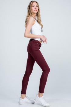 Mid-Rise Burgundy Colored Jeans