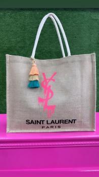 Pink Ink Saint Laurent Designed Tote Beach Bag
