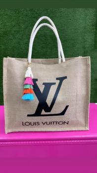 Black Louis Vuitton Designed Tote Beach Bag
