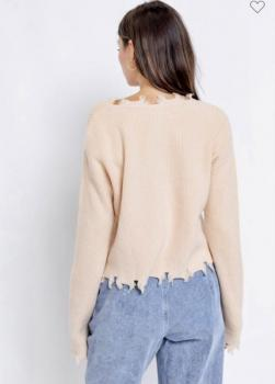 Distressed V-Neck Pullover Sweater