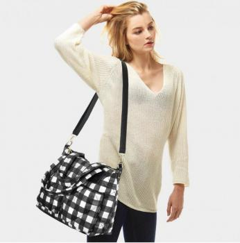 Buffalo check puffer tote bag