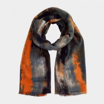 oblong multi color water brushed scarf