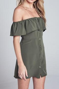 Off The Shoulder Button Up Dress