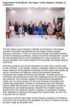 Organization of the Month by our Senator Ben Hueso